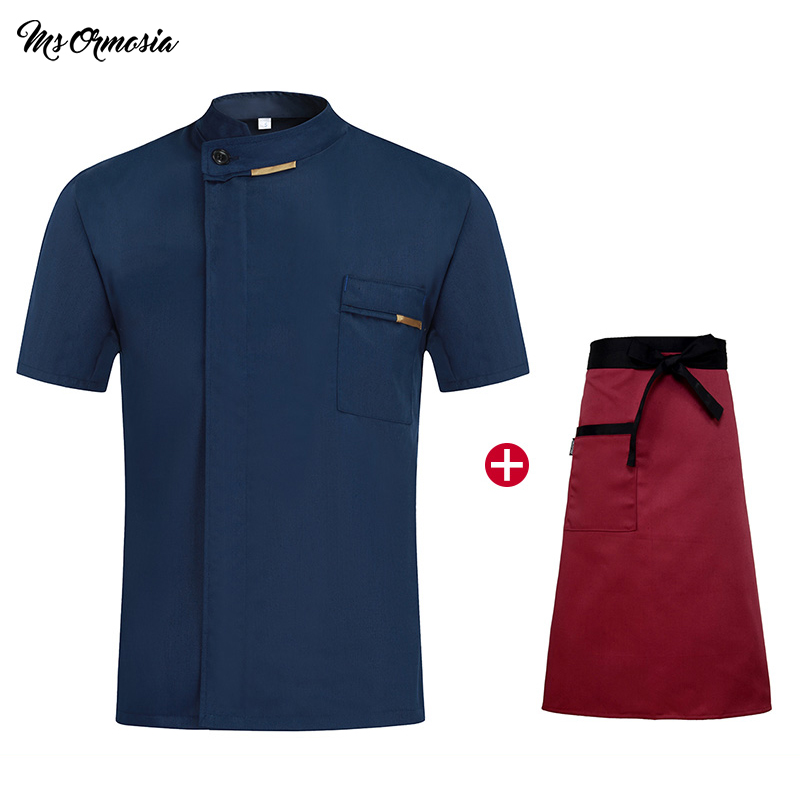 Wholesale Unisex Kitchen Chef Uniforms Summer Short Sleeves Chef Jackets & Aprons Bakery Hotel Food Service Waitress Uniform