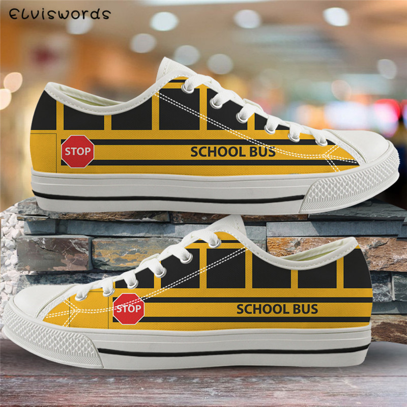 ELVISWORDS Yellow School Bus Print 3D Women Vulcanized Shoes Fashion Youth Girls Casual Flat Shoes Breathable Mesh Lady Zapatos