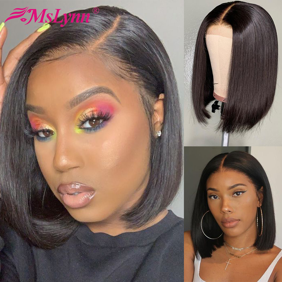 13x6 Bob Lace Front Wigs Straight Lace Front Human Hair Wigs For Women Brazilian Short Wigs Mslynn Remy Wig