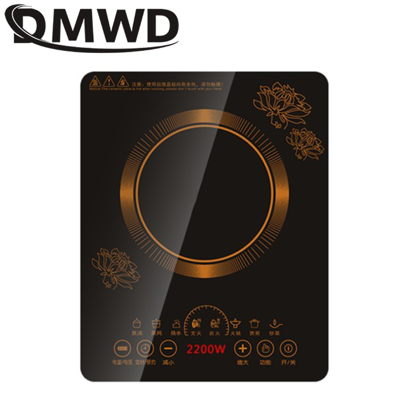 DMWD Electric Touch Control Induction Cooker Electromagnetic Oven Hot Pot Heating Stove Adjustable Mode Household 2200W EU US