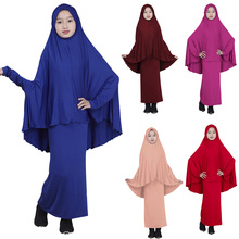 Abaya Muslim Kids Girls Jilbab Long Hijab Maxi Dress Islam Prayer Clothing Set Ramadan Burka Suits Full Cover Children Arab New