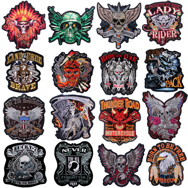 Pulaqi New biker patches for clothes iron on embroidery Sticker  stripe clothing punk patch wholesale H