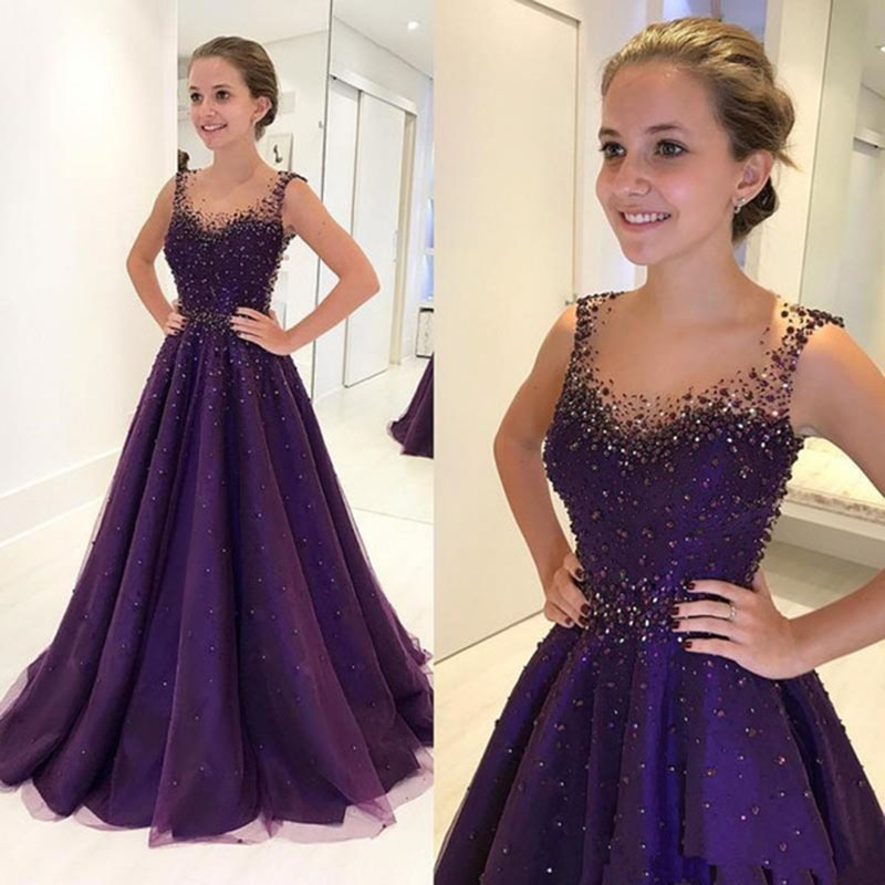 Purple Bling Sequined Beaded Prom Dresses 2019 A Line Floor Length Sexy Illusion Back Long Evening Gown Elegant Dress Women