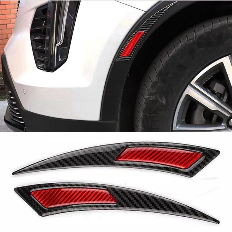 Автомобильная наклейка HYZHAUTO из углеродных волокон, полоски для защиты крыльев от царапин, светоотражающая лента 2 шт./лот