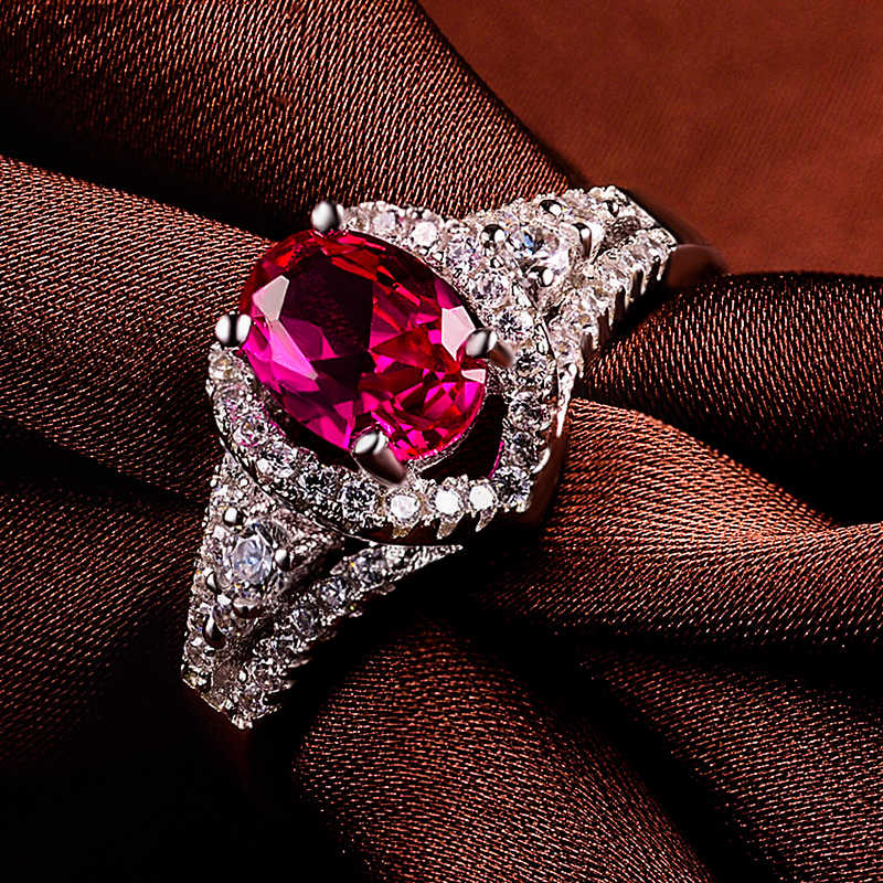 หญิงหรูหราสุภาพสตรีรูปไข่แหวนเปิด 100% แท้ 925 แหวนเงินสำหรับผู้หญิง Vintage Rose สีแดงหมั้นแหวน