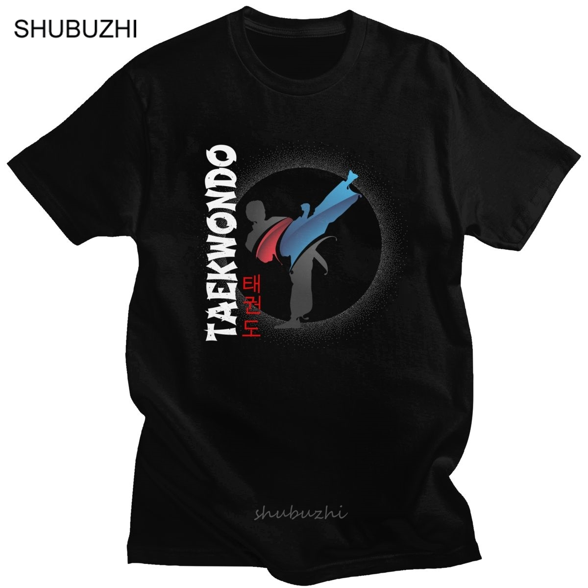 Martial Artist Side Kick TaeKwondo Tshirt Men's Pure Cotton Tae Kwon Do Tee Shirt Crew Neck Short Sleeved Summer T-shirt Clothes image