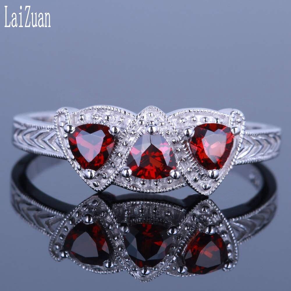 LaiZuan argent Sterling 925 certifié Trillion coupe 0.66ct véritable naturel grenat pierre gemme anneau femmes Vintage à la mode bijoux fins
