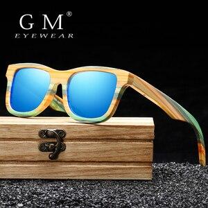 Image 1 - Женские и мужские солнцезащитные очки GM, поляризационные деревянные очки для скейтборда, UV400