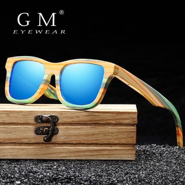 Женские и мужские солнцезащитные очки GM, поляризационные деревянные очки для скейтборда, UV400