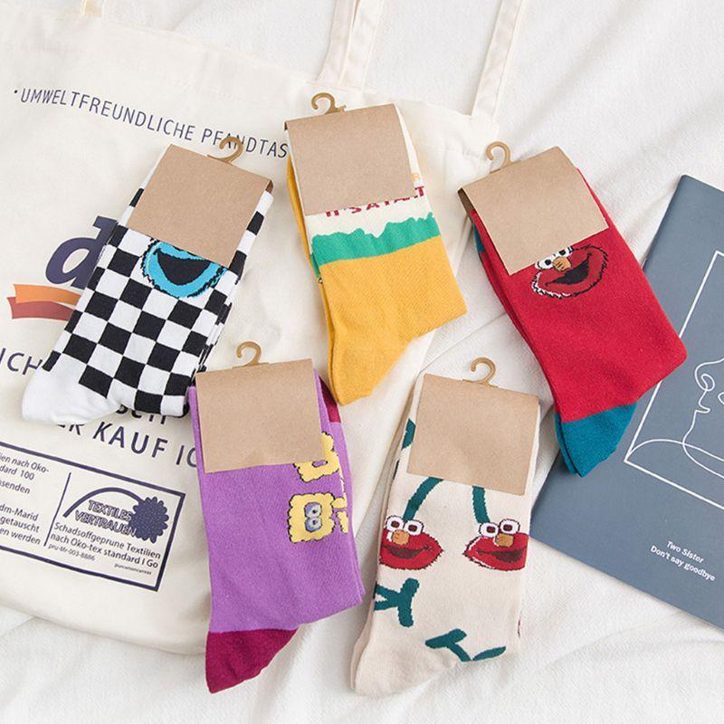 Women Checkerboard Contrast Color Crew Socks Cartoon Figures Printed Harajuku Hip Hop Skateboard Cotton Mid Tube Hosiery