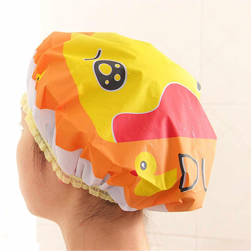 Ouneed Rambut Topi Wanita Topi Mandi Mandi Berwarna-warni Shower Cover Dewasa Tahan Air Mandi Wanita Gadis Membungkus Rambut Hat Cap #45