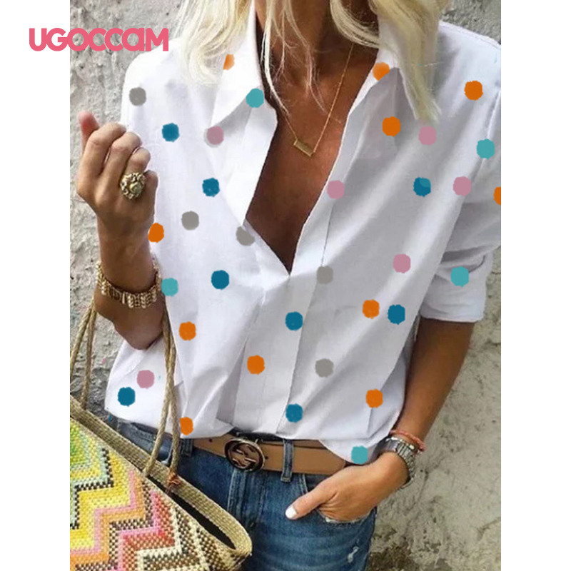 Hd9022ec2119e491a99f8bde7d9cdc4edK - UGOCCAM Women Blouse Long Sleeve Blouse Shirt Print Office Turn-down Collar Blouse Elegant Work Plus Size Tops Fashion Women Top