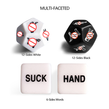 Sex Toys 6/12 Positions Dildo Dice Erotic Crap Fun Acrylic Dice For Couples Romance Love Game Gambling Adult Gift Games image