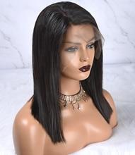포커 얼굴 스트레이트 13x4 레이스 프런트 가발 짧은 밥 레이스 프런트 인간의 머리 가발 자연 색상 Pre 뽑은 표백 매듭 비 레미
