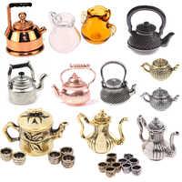 1/12, accesorios en miniatura para casa de muñecas, Mini tetera de Metal, muebles de simulación, tetera, modelo de cocina, juguetes para decoración de casa de muñecas
