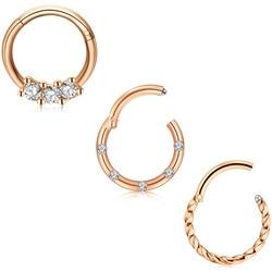 JFORYOU 16G Stainless Steel Daith Earring Hoop Hinged Segment Ring Ear Piercing 3Pcs Rosegold Black Choosable