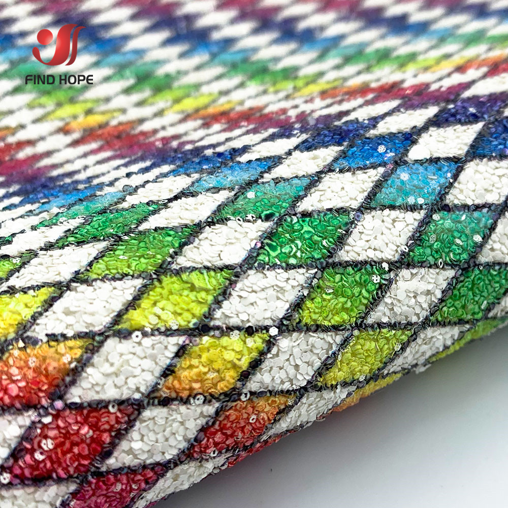 Chunky Iridescent Glitter PU Leatherette Sewing Fabric Sparkle Grid Prismatic DIY Hair Bows Handmade Earring Making Material