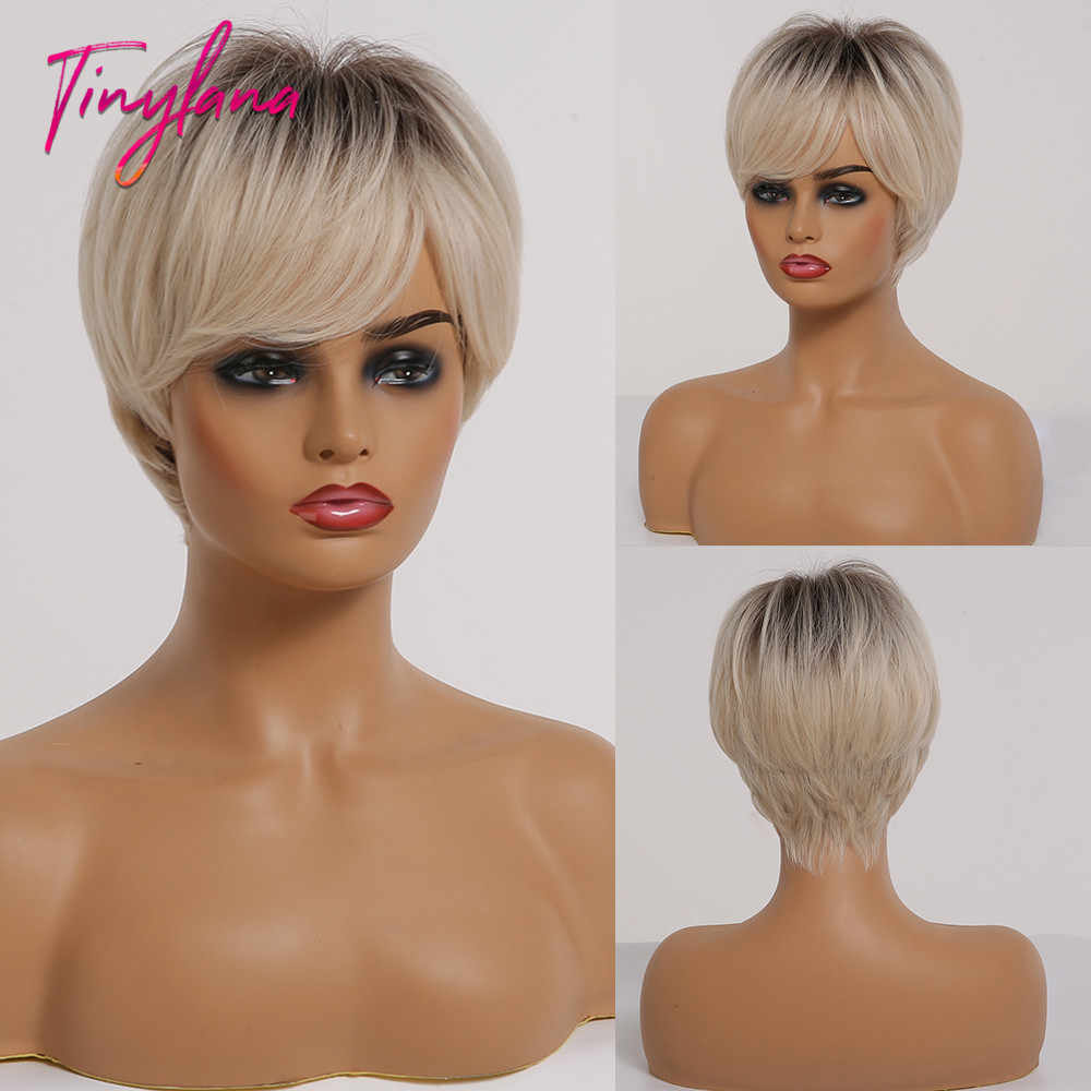 TINY LANA Ombre Brown Light Blonde Wigs with Side Bangs Pixie Cut Short Straight Women's Wig Layered Synthetic Hair Wigs Cosplay