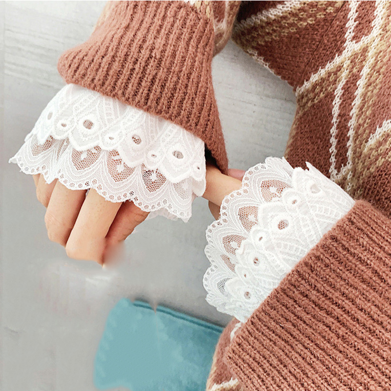 Women's Fake Sleeves Wild Sweater Sleeves Solid White Pleated Wrist Pleated Fake Sleeve 11cm Decorative Female Clothes Fake Cuff