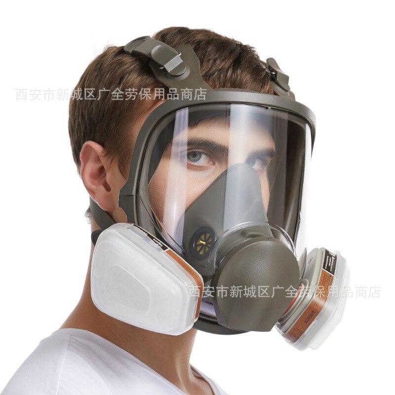 7 In 1 6800 Gas Masker Wajah Penuh Besar Lihat Penutup Wajah Lukisan Penyemprotan Respirator Gas Masker Respirator Filterg Penyemprotan