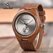BOBO BIRD montres en bois pour hommes, grande vente, collection décontracté, bracelet en cuir pour horloge, cadeau danniversaire, livraison directe