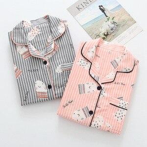Image 5 - Frische ahorn blatt pyjama sets frauen 100% gaze baumwolle Japanischen sommer langarm casual nachtwäsche frauen einfache pyjamas