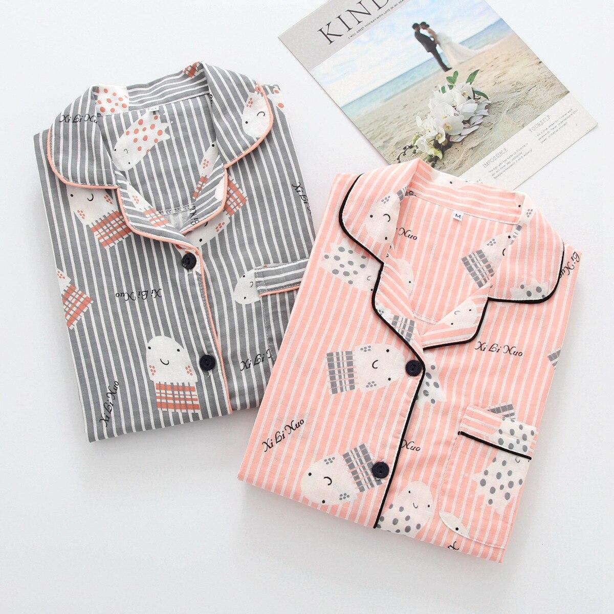 Image 5 - Korea Fresh maple leaf pajama sets women 100% gauze cotton long sleeve casual sleepwear women pyjamas summer hot sale 2020pijamas para mujerwomens pajamas setwomen pyjama -