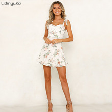 Casual Summer Floral Print Sling Dress 2019 V-neck Mini Veatido Woman Sexy Sleeveless Beach Back Dresses Beach Short Dresses цена в Москве и Питере