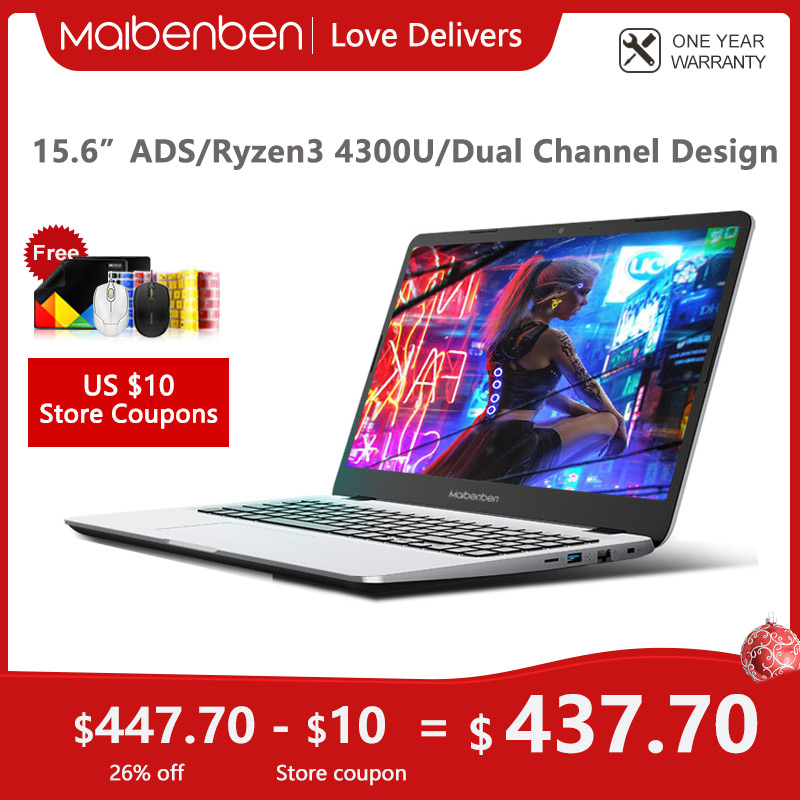 MAIBENBEN ноутбук M543 ноутбук [AMD Ryzen 3 4300U, 15,6-дюймовый ADS FHD,4G/8G/16G Linux/Windows10] один год гарантии