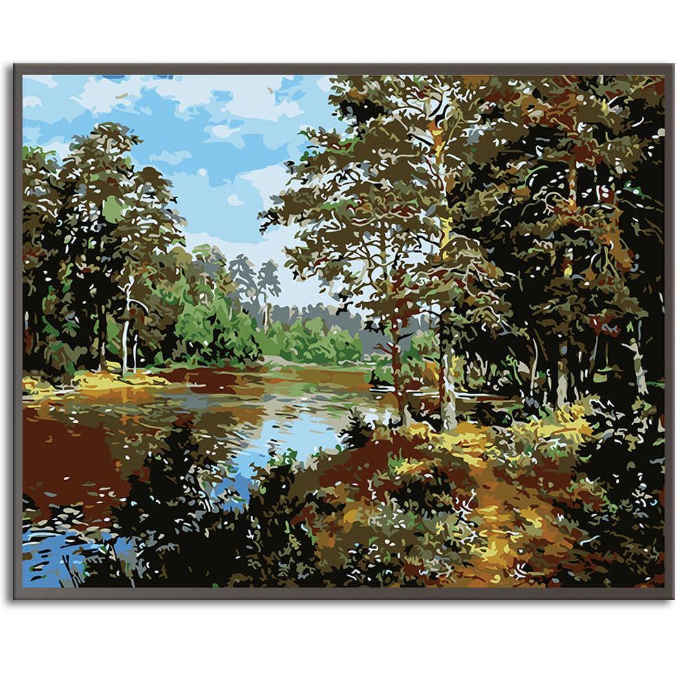 SDOYUNO Луна природа пейзаж для взрослых на холсте рамка картины по номерам раскраска по номерам декор для дома рисование по номерам 60x75 см DIY домашний декор