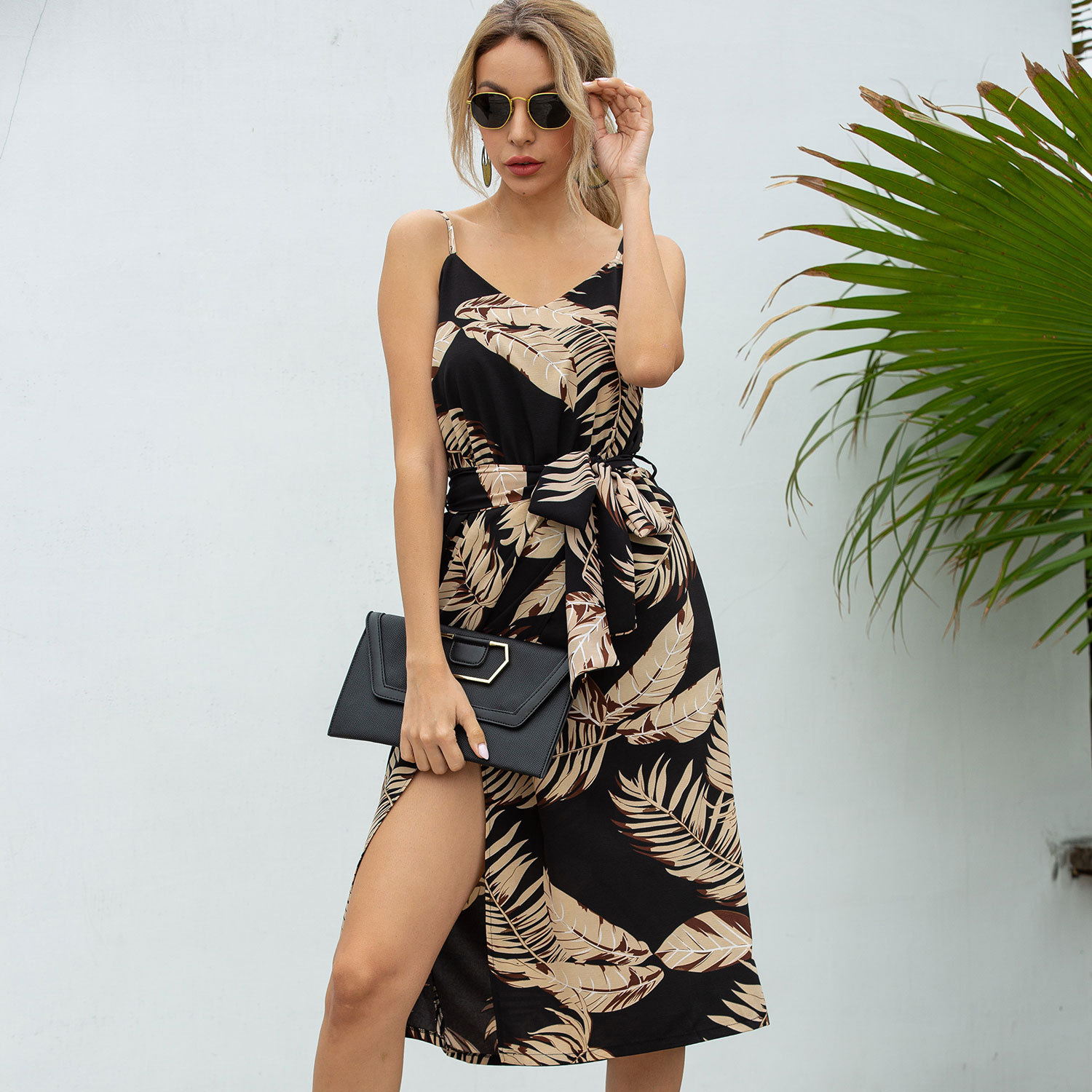 ZOGAA 2020 Europe and The <font><b>United</b></font> <font><b>States</b></font> <font><b>AliExpress</b></font> Spring and Summer Burst Four-color Printing Sling Loose Casual Dress image