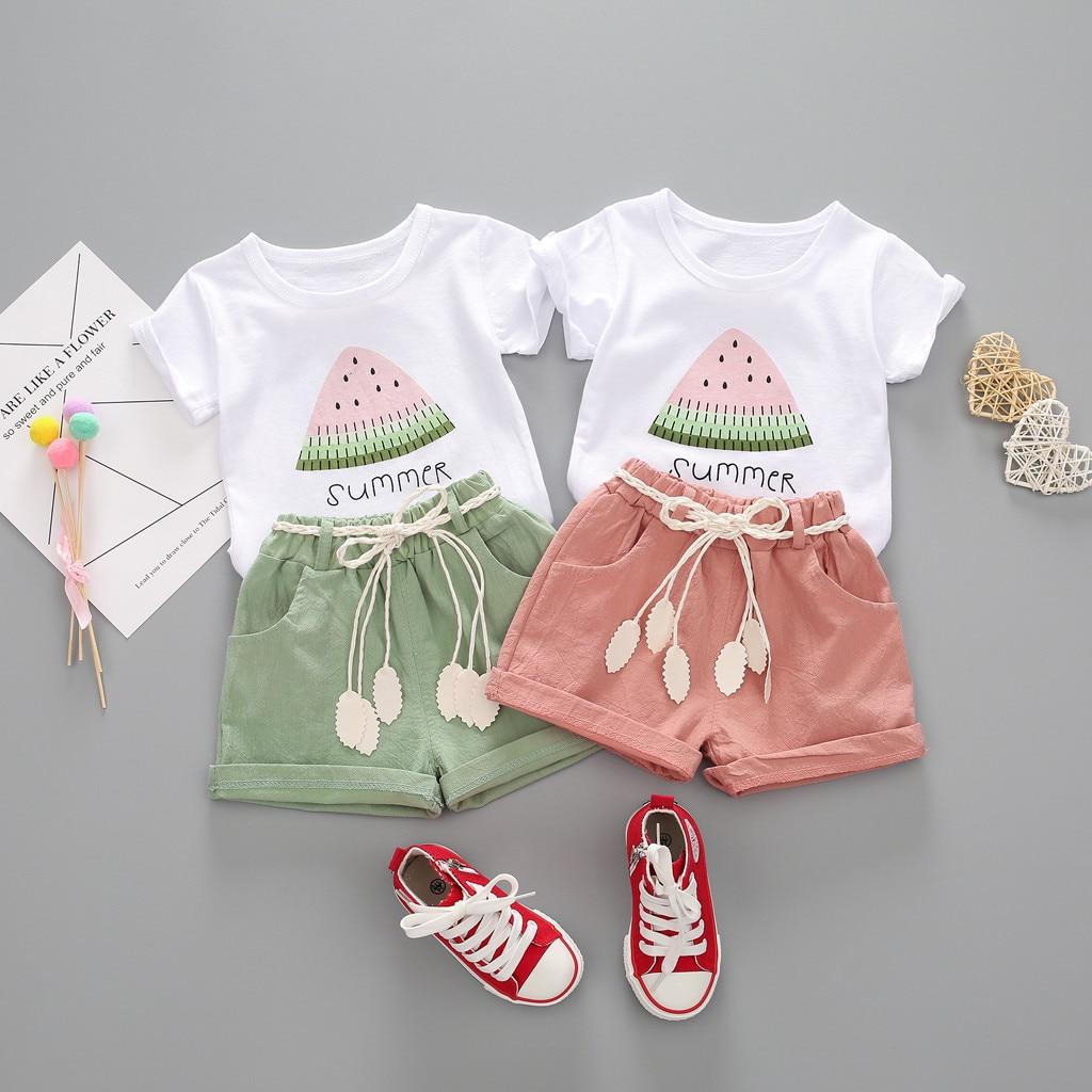 Shorts Pants Outfits Newborn Baby Girls Sleeveless Watermelon T-shirt Crop Top