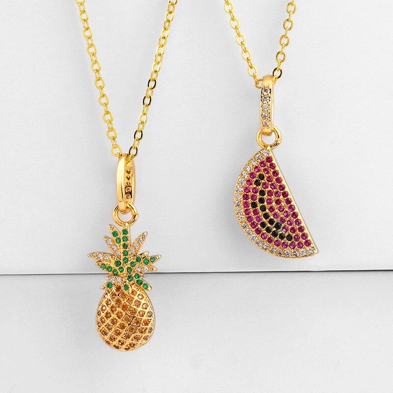 Colgante Cadena Collar Chapado en Oro con encanto de piña