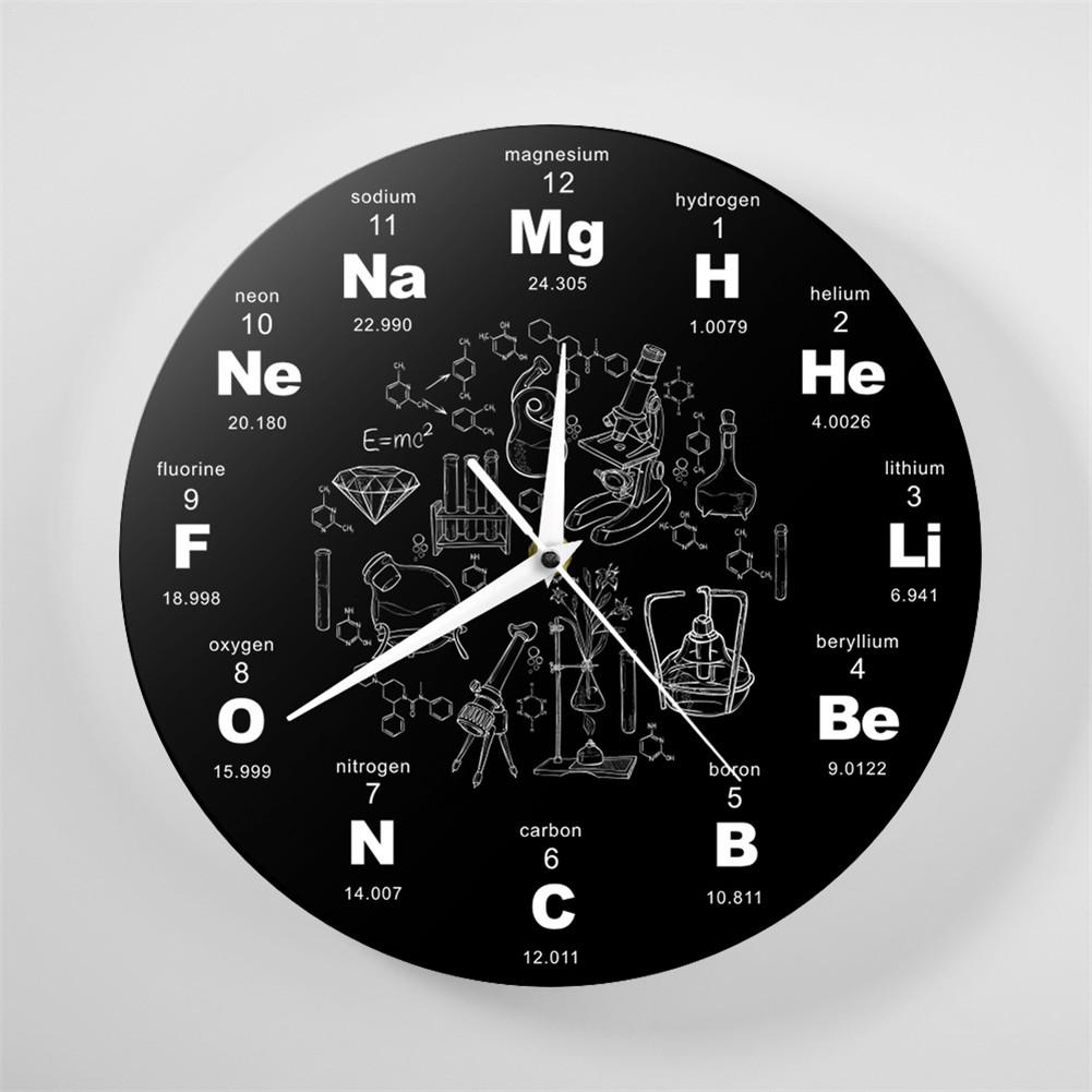 Modern Design Chemical Elements Periodic Acrylic Wall Clock Science Chemistry Symbol Clock Chemistry Teacher Gift