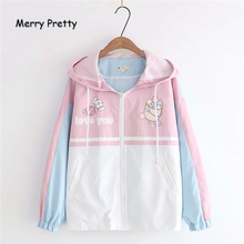 Merry Pretty Women Cartoon Print Contrast color Basic Jacket