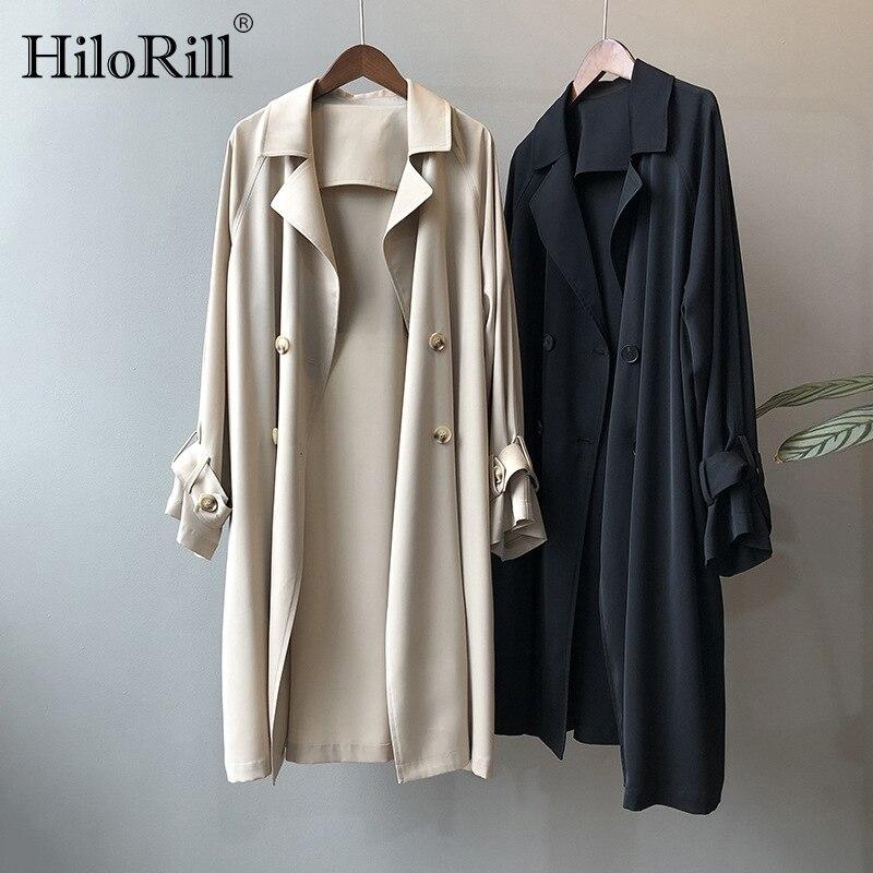 HiloRill mode couleur unie femmes Trench Coat 2020 ample Double boutonnage coupe vent dames décontracté longue pardessus Abrigo Mujer | AliExpress