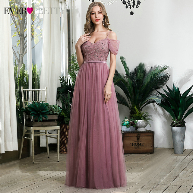 Elegant Dusty Pink Evening Dresses Ever Pretty Sequined A-Line Spaghetti Straps Tulle Sparkle Evening Gowns Abiye Gece Elbisesi 1