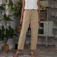 Frauen Sommer Einfarbig Große Taschen Elastische Taille Baumwolle Leinen Lose Damen Casual Mode Splice Schnürung Oversize Hosen