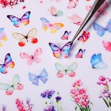 Primavera holográficos borboleta alfabeto desenhos adesivos flores folhas transferência decalque diy slider para manicure decoração