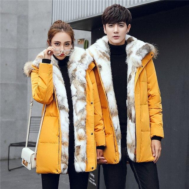 2019 אופנה גברים ונשים דביבון פרווה צווארון חורף מעיל מעיל חם עבה ארנב פרווה מקרית מעילי גדול גודל 4XL 5XL