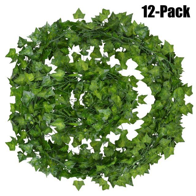 12pcs 2M Ivy green Fake Leaves Garland Plant Vine Foliage Home Decor Plastic Rattan string Wall Decor Artificial Plants 2
