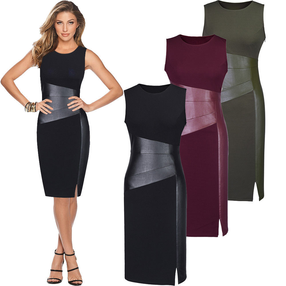 Sexy Patchwork PU Leather Dress Women Sleeveless Low Cut Bodycon Evening Party Pencil Dress Wine Red Black Army Green