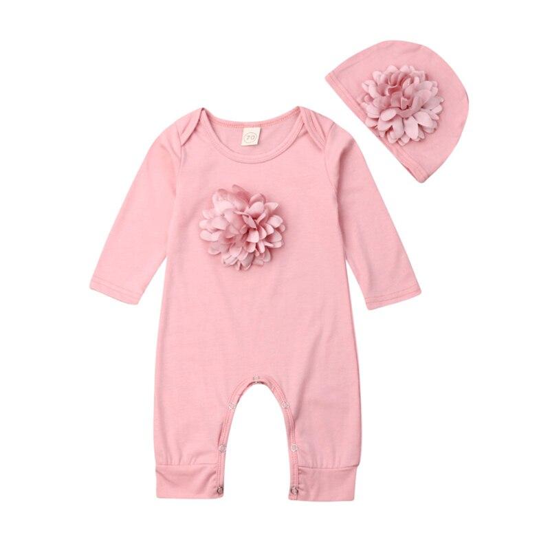 2PCS Infant Neugeborenen Baby Mädchen Kleidung Rosa 3D Blume Romper Overall Kleidung Hut Outfit Set 0-18M