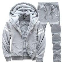 Causal Tracksuits Men Set hooded Thicken Fleece Hoodies + Sweatpant 2020 Winter Spring Sweatshirt Sportswear Male Letter Print