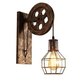 ELEG-Retro Loft Light Pendant Suspension Light Lifting Pulley Wall Lamp Restaurant Aisle Pub Cafe Light Bra Sconce Lantern