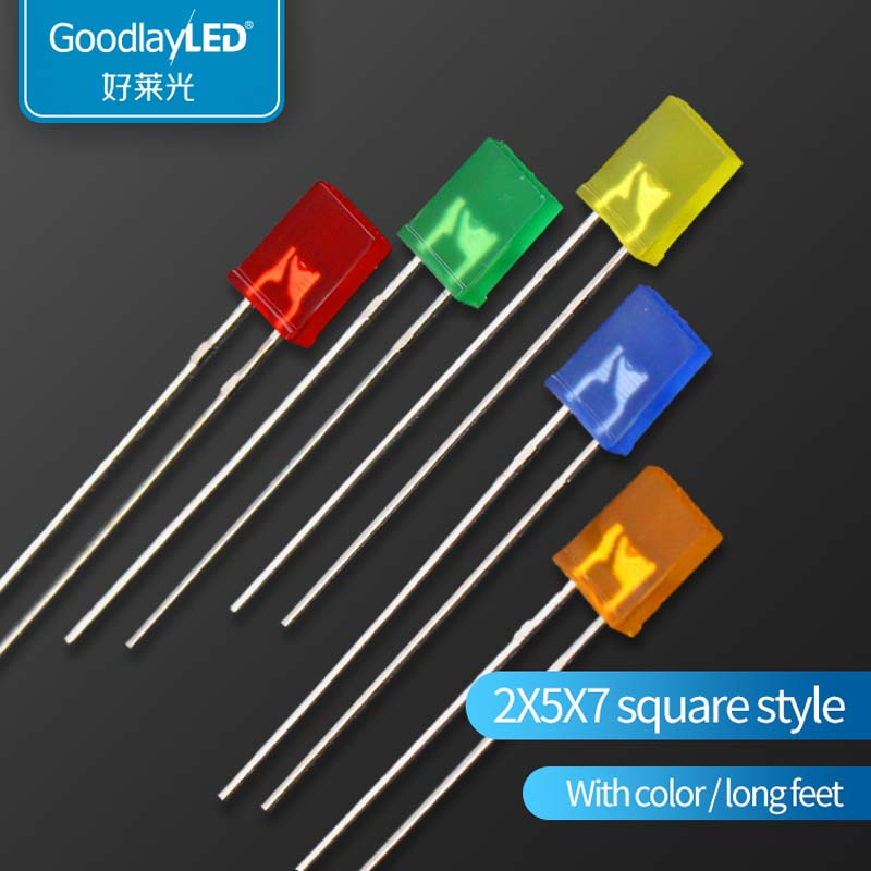 1000pcs 2x5x7mm LED  Yellow Orange /Red/Green/Blue/Yellow/Orange 5mm Square LED Lamp 257 LED LIGHTIN Diode