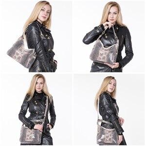 Image 3 - REALER Bolsos De piel auténtica con estampado de serpiente para mujer, carteras de hombro tipo bandolera, escolares, clásicas