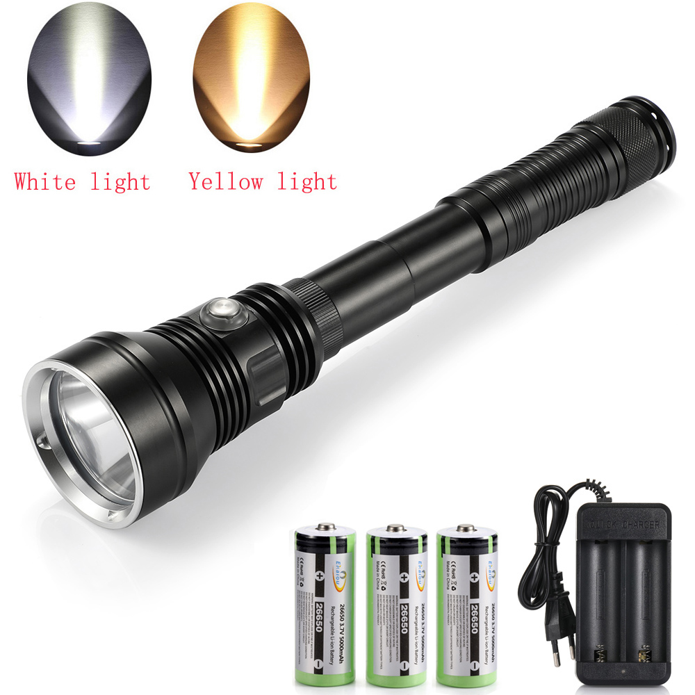 new powerful Waterproof Scuba Diving Flashlight XHP70 2 Yellow white light 6000LM underwater Tactical dive torch 26650 Battery