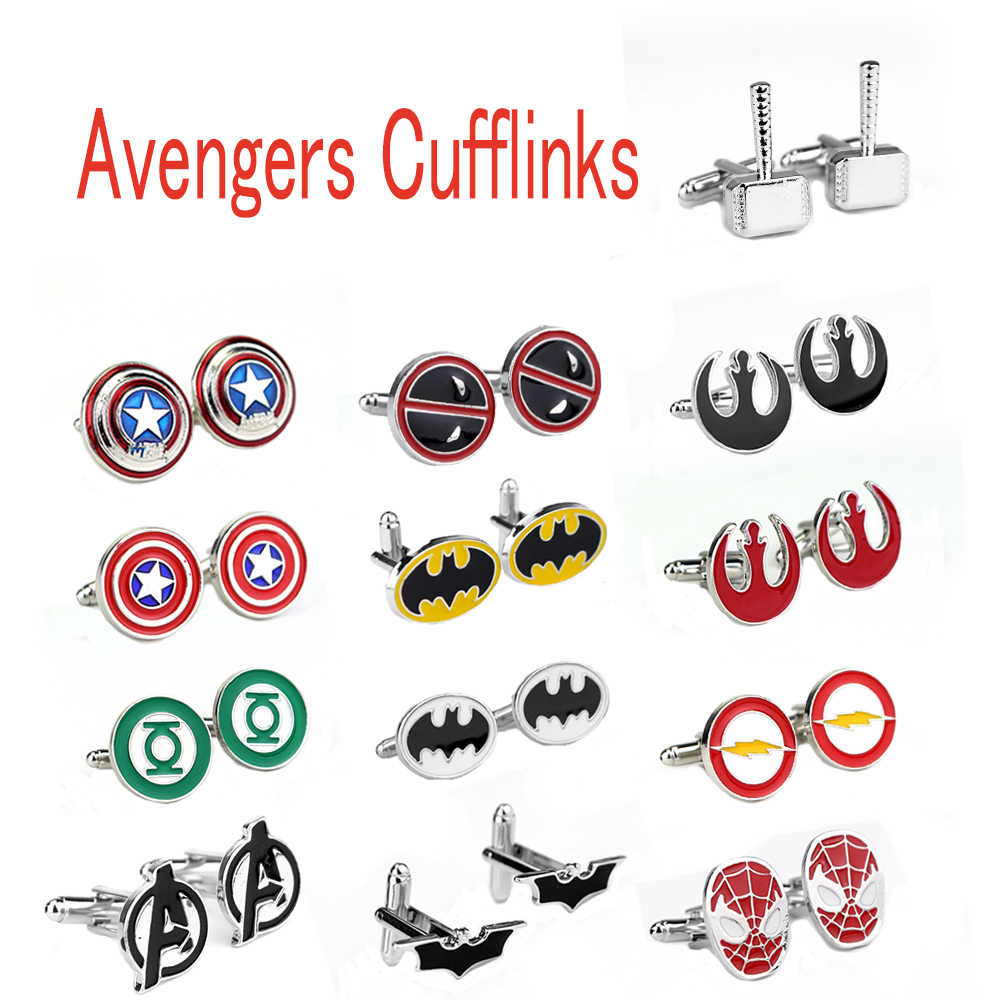 Marvel Avengers Endgame Superman Manschettenknöpfe Captain America Thor Batman SpiderMan Deadpool Logo Krawatte Clips Männer Party Hemd Schmuck