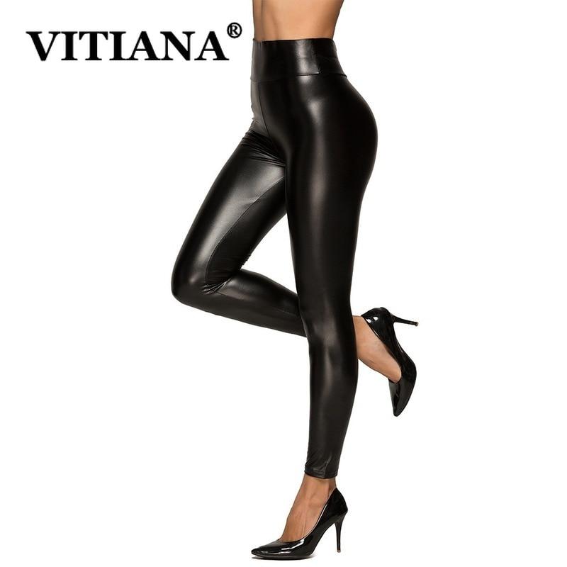 VITIANA Lace PU Leather Sexy Leggings Women Autumn Winter 2019 Female High Waist Super Elastic Black Pants Femme Punk Style